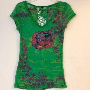 BUFFALO Green & Floral V-Neck T-Shirt